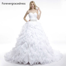 Forevergracedress Ball Gown Sleeveless Ruffles Wedding Dress Sexy Sweetheart Beaded Long Lace Up Back Bridal Gown Plus Size
