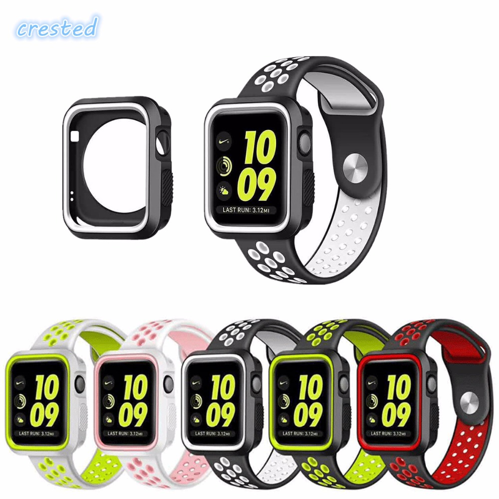 CRESTED Silicone case+strap for apple watch band 42mm 38mm Nike sport bracelet belt watchband+Protective cover for iwatch 2/1 series 1 2 3 soft silicone case for apple watch cover 38mm 42mm fashion plated tpu protective cover for iwatch