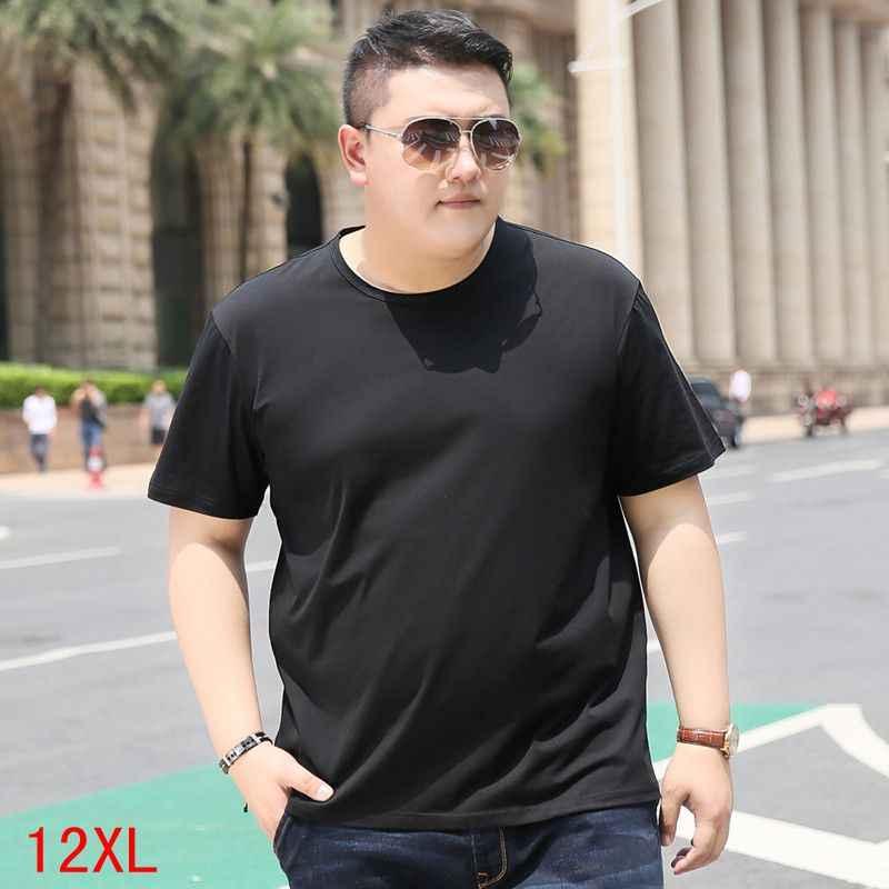 Мужская большая футболка большого размера 5XL 6XL 7XL 8XL 9XL 10XL 11XL 12XL летняя свободная толстовка с коротким рукавом и круглым вырезом темно-синего цвета