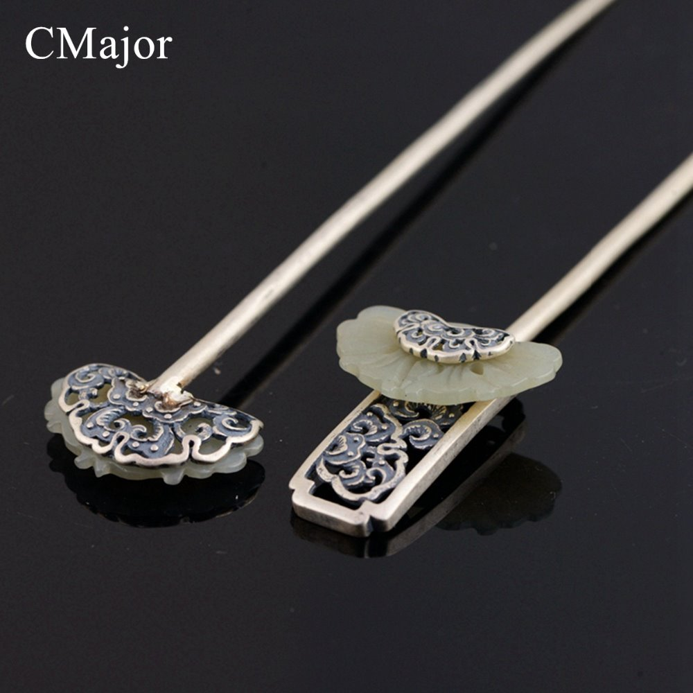 CMajor Two styles Ethnic hair font b jewelry b font vintage silver natural sone hair sticks