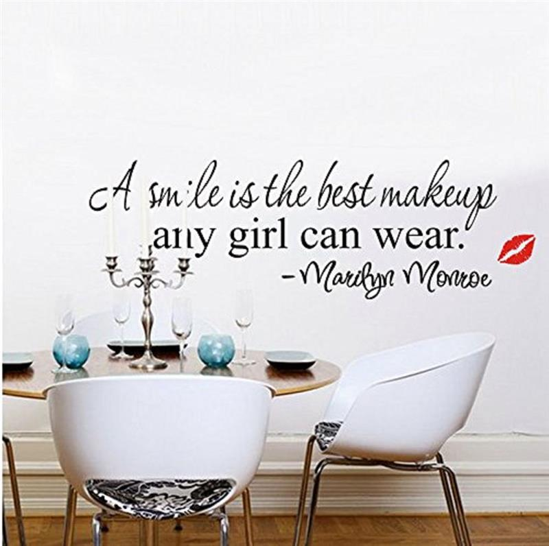 A smile is the best makeup any girl can wear Wall Stickers home decoration Marilyn Monro ...