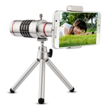 Wholesale prices Universal 18X Zoom Phone Telescope Telephoto Camera Lens + Tripod Aluminum Protective Shell For iPhone Android Mobile Phones