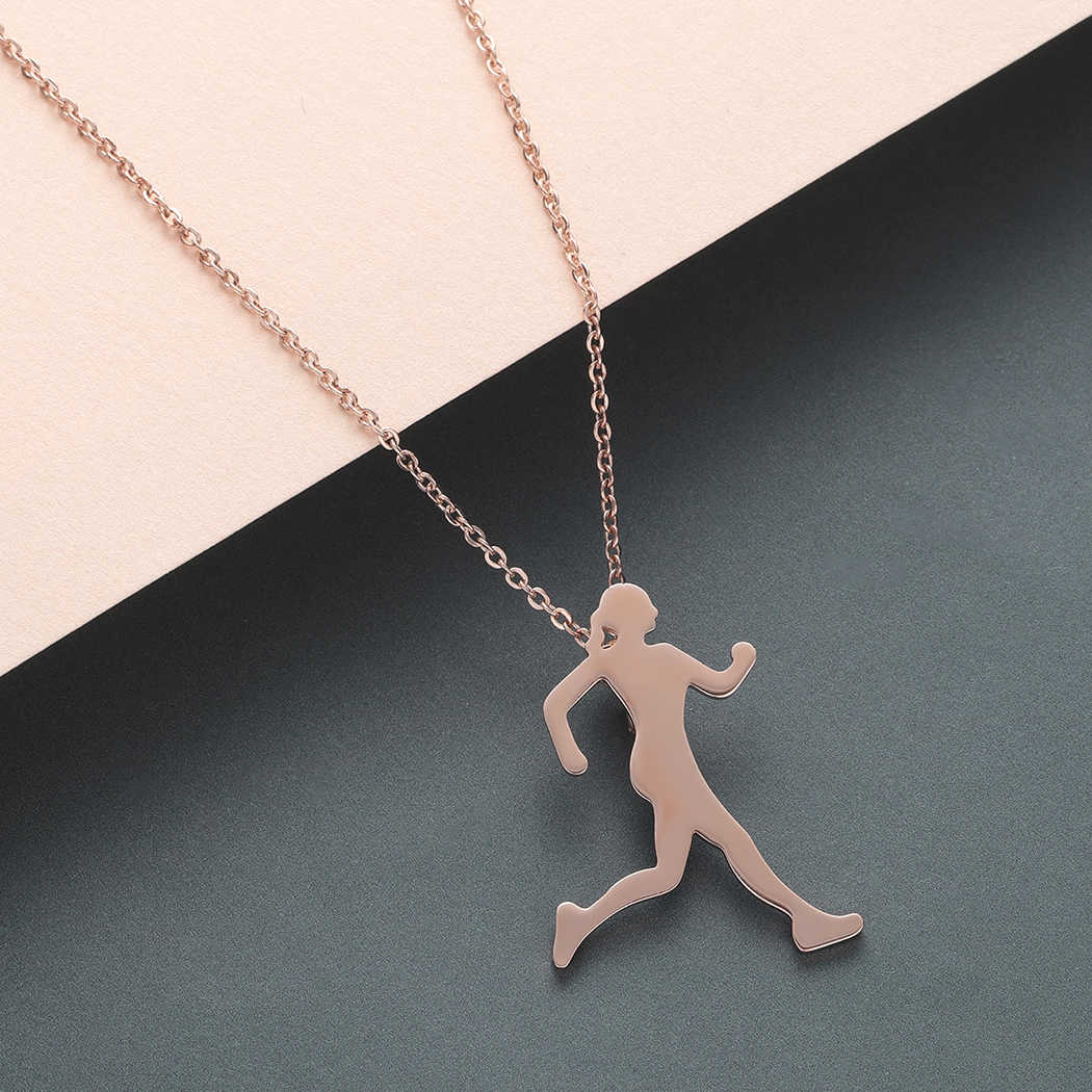 Todorova Inspiring Runner Girl Necklace Women Marathon To Run Necklace Pendant for Lover Sport Jewelry Dropshipping