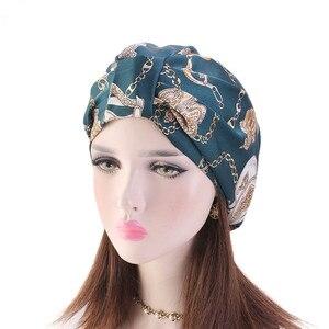 Image 1 - Muslim Women Silky Sleeping Turban Hat Cancer  Chemo Beanies Bonnet Cap Bandans Headwear Head Wrap Hair Accessories