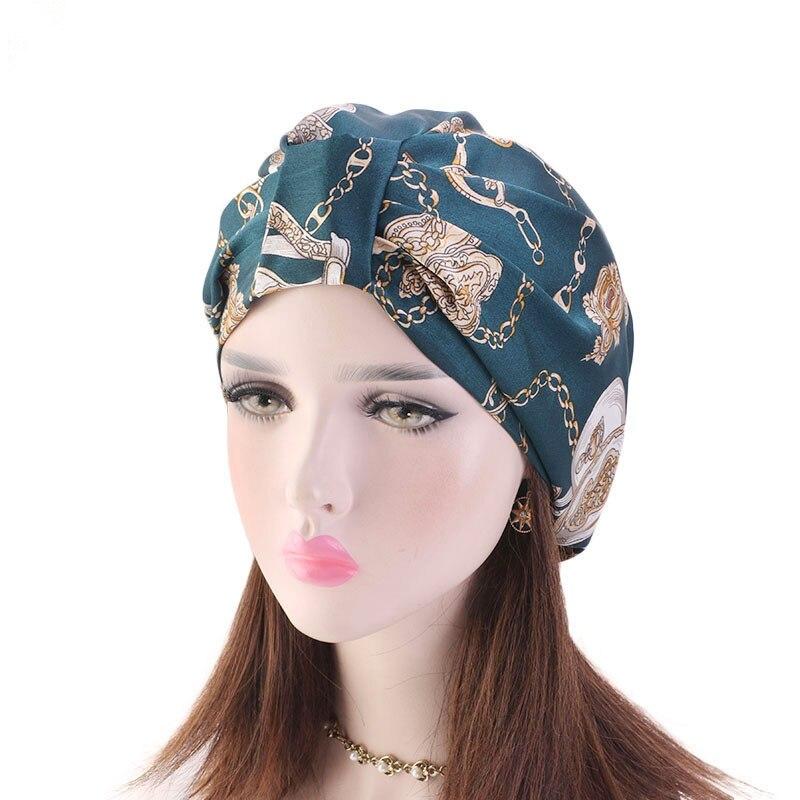 Muslim Women Silky Sleeping Turban Hat Cancer Chemo Beanies Bonnet Cap Bandans   Headwear   Head Wrap Hair Accessories