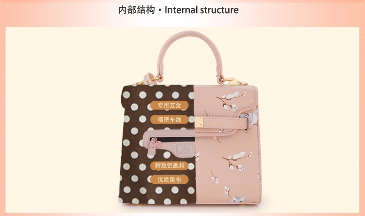 x21 New Sale Bolsas Mujer Small Peekaboo Saddle Faux Leather PU Pink Cat Floral Women\'s Handbags For Lady  Messenger Bags Totes