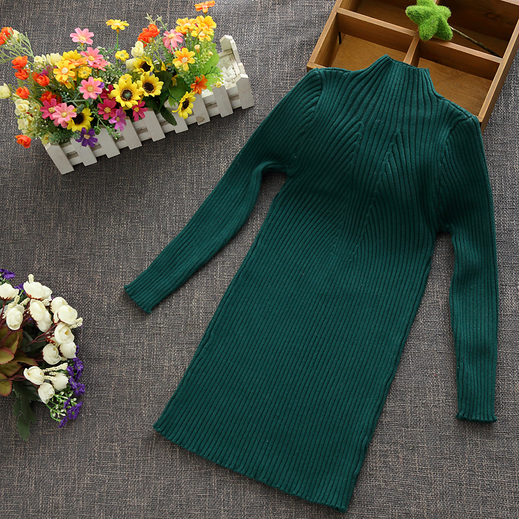 2018 New Girls Sweater O-neck Long Knitted Casual Sweaters Kids Outerwear Teenage Children Clothing Christmas Sweater 12 13 14 T high neck button embellished knitted sweater