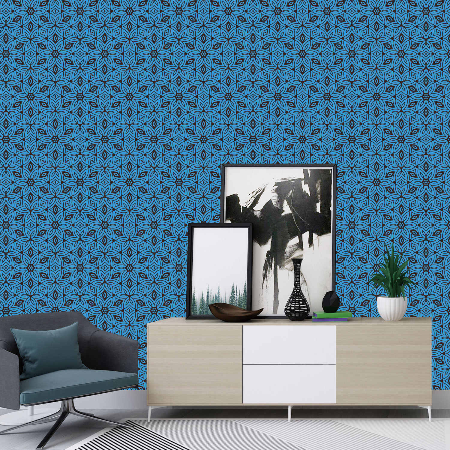Moroccan Style Blue 6 Sided Pattern Tile Stickers Bathroom Kitchen Living Room Bedroom Tv Sofa Wall Decoration Wall Stickers