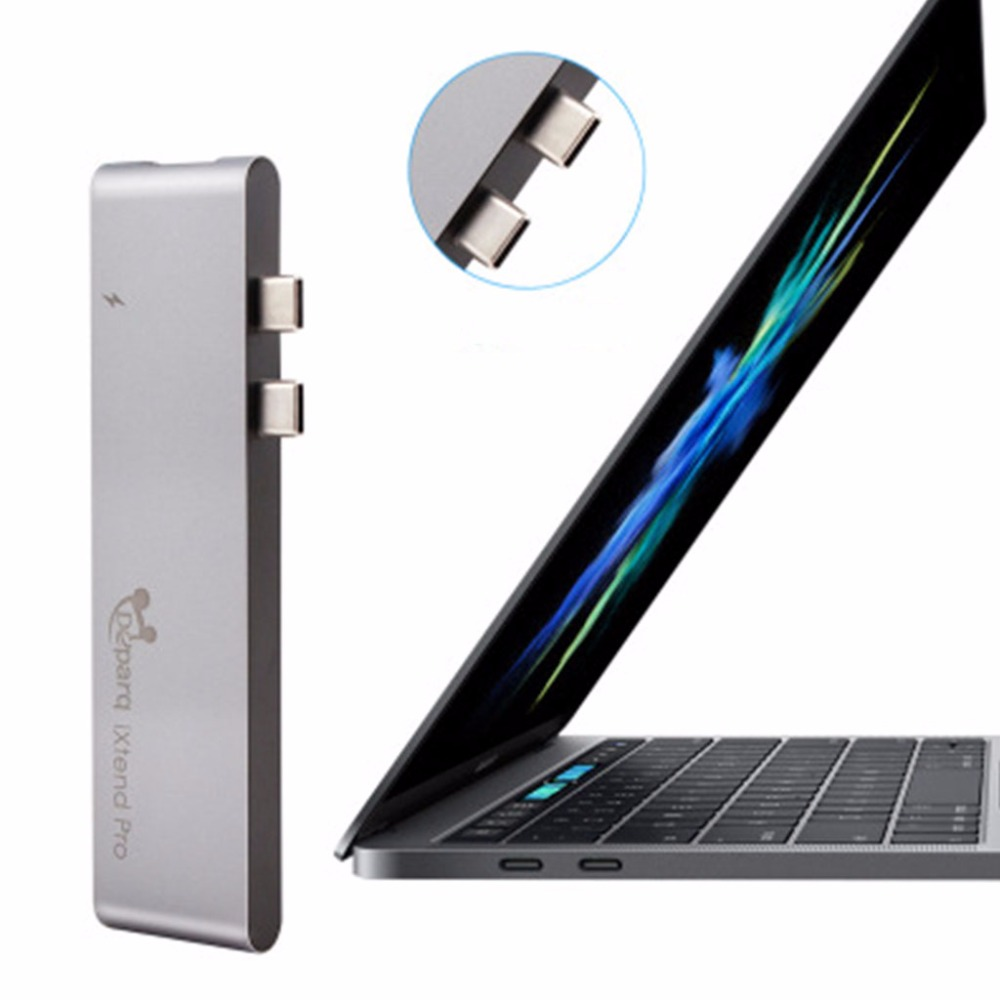 Aluminum 7-In-1 Multi-Port Type-C Hub Adapter Dongle For MacBook Pro 2016/2017 13&15 4K HDMI 3 USB-C USB 3.0 SD/TF New C26 кошелек blugirl blugirl bl540bwzlz36