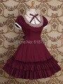 Бесплатная доставка Красивая Готическая Лолита платье С Коротким рукавом shirtdress для женщин Косплей костюмы Ретро платья