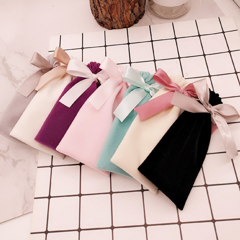Whosale Adjustable Jewelry Packing Cloth Satin  Drawstring Velvet Bag Lake Blue 6x13cm Christmas Wedding Gift Bags & Pouches