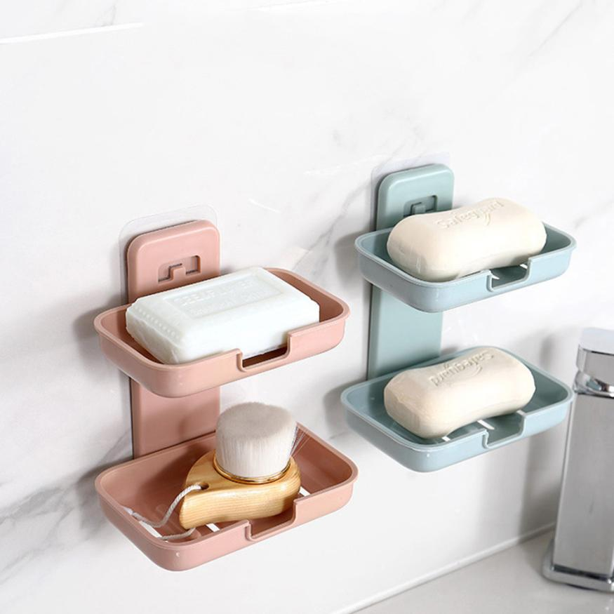 NewBathroom Shower Soap Box Dish Storage Plate Tray Holder Case Soap Holder Bathroom Double Layers Strong Sucker Soapbox