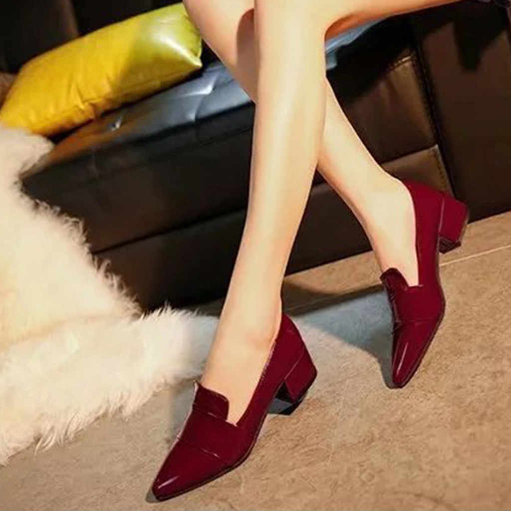 YOUYEDIAN chaussures femme escarpins 2018 mode sauvage peu profonde cuir femme escarpins Ladise chaussures rose Zapatos Mujer Tacon taille 35-39