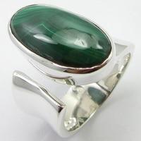 Silver Oval Cabochon Malachite Ring Size 6.5 Gem Stone New Jewelry Unique Designed