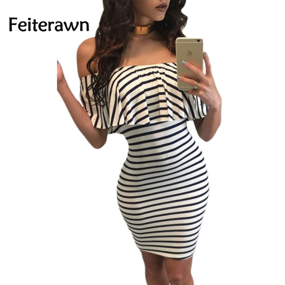 Feiterawn New 2018 Women Sexy Black White Striped Off-shoulder Bodycon Mini Style Party Club Dress Vestidos De Festa DL22792