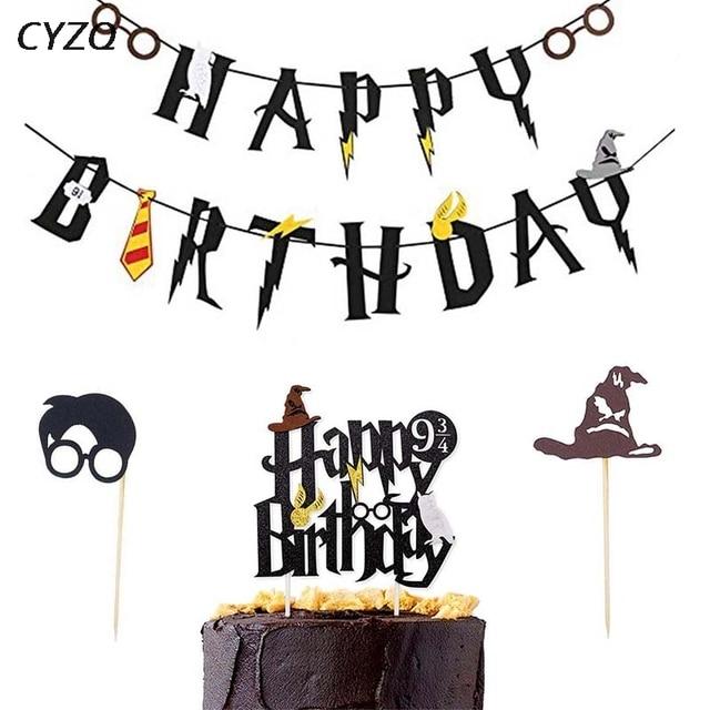 Harry Potter Happy Birthday Banner Cake Topper Hogwarts Lightning Felt Flag Bunting For Baby Shower Party Cupcake Decor Supplies