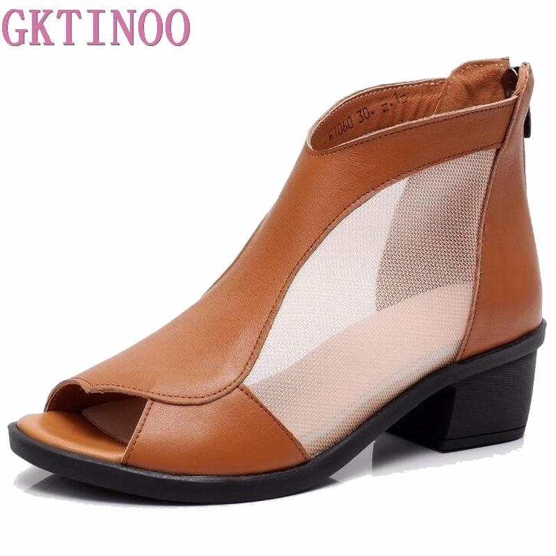 Genuine Leather Summer Womens Sandals Spring Women Ankle Boots Big Size 41 42 43 Fashion Mesh Dress Sandals Female High Heels Women's Shoes