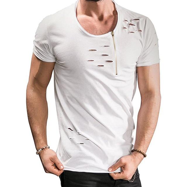 8666792545b5 Uwback 2018 New Summer T Shirt Men Plus Size 3XL Ripped Hole T ...