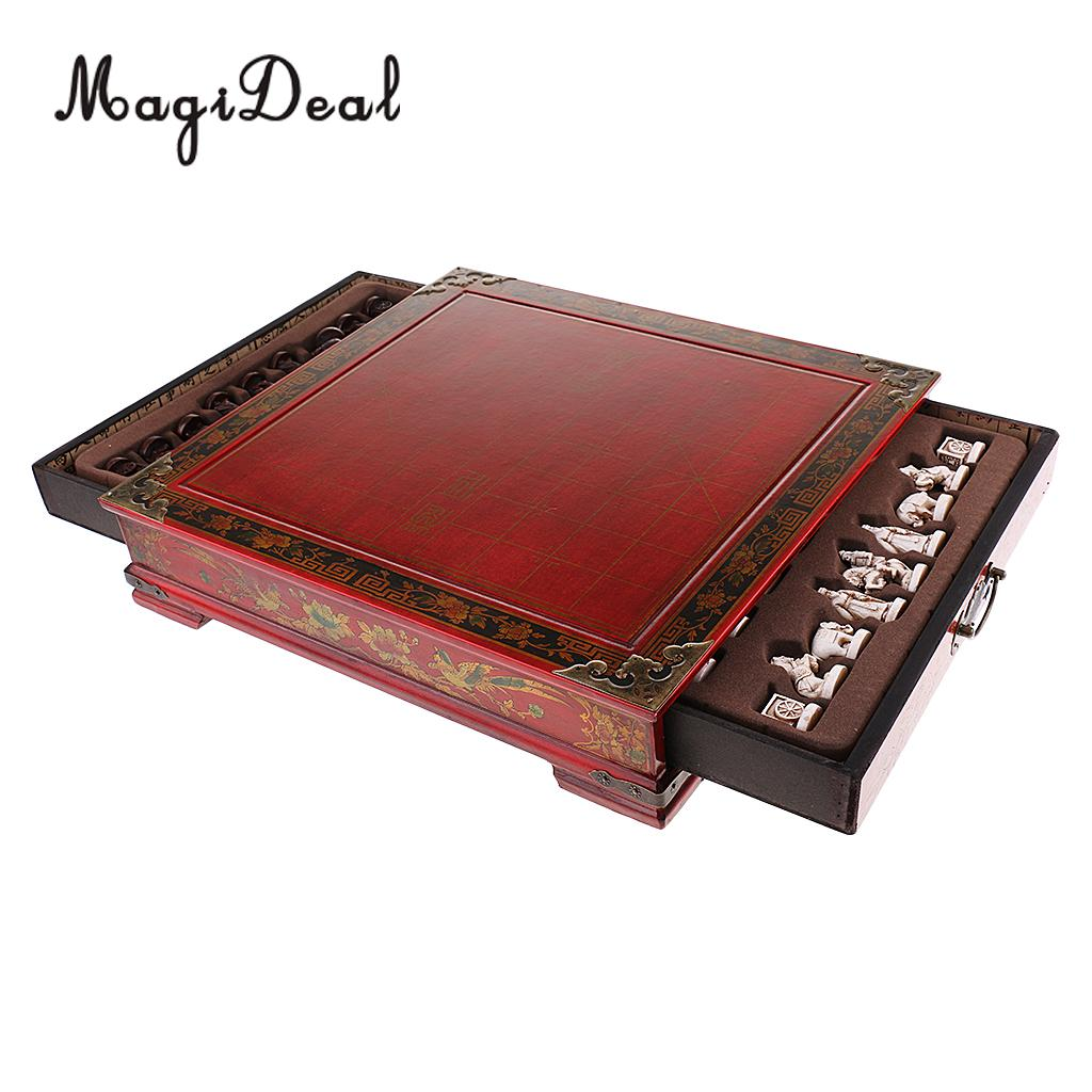 MagiDeal Classic Chinese Wood Puzzle Board Game Traditional Chess 3D Terracotta Army Collectables for Children Adult Gift