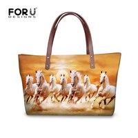FORUDESIGNS 3D Horse Women Handbags Vivid Crazy Animal Ladies Totes Big Waterproof Beach Shoulder Bag Shop