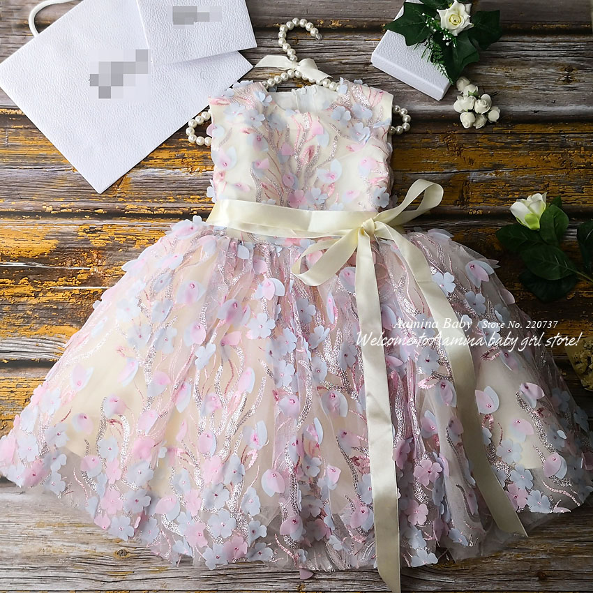 R138 Retail New Flowers Embroidery Costume Tutu Princess Baby Girl Dress Party Wedding Kid Dresses For