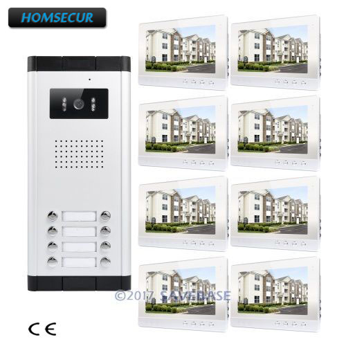 HOMSECUR 10.1 LCD Video&Audio Door Entry Kit with LCD Color Screen for 8 Apartment
