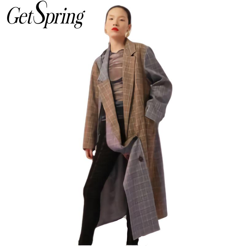 GETSRING Women   Trench   Coat Plaid Patchwork Asymmetries Windbreaker Long Sleeve Split Double Breasted Coat Variety Wear Overcoat