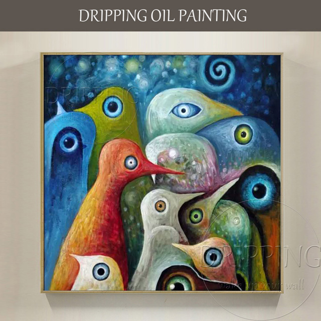 artist hand painted high quality abstract birds oil painting on