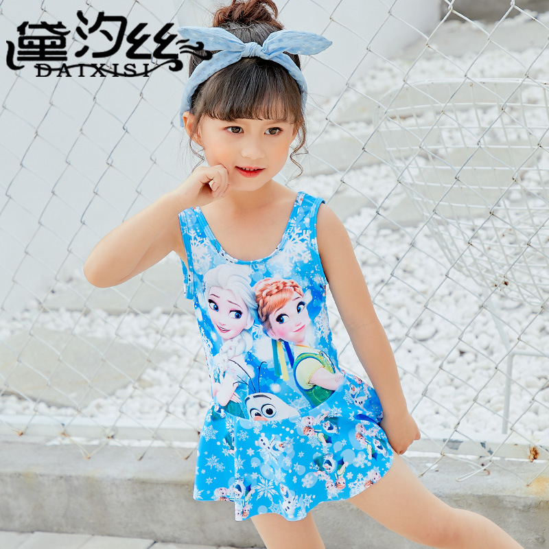 Child Swimwear Girl Childrens Junior Girls Swimsuit Bathing Suits 2018 Snow Create Female Children Princess Skirt Polyester