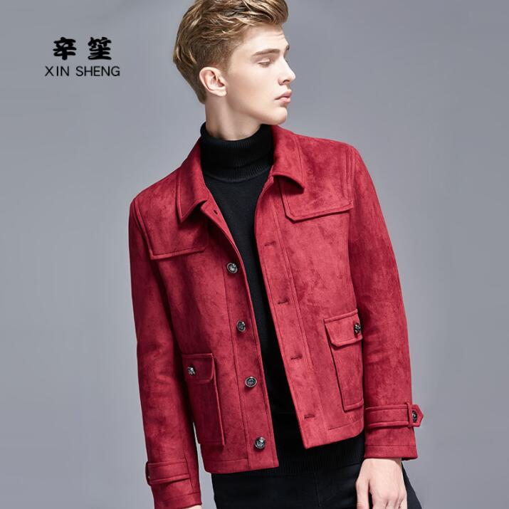 Casual short coat men single breasted coats long sleeves deer skin velvet mens clothing england wine red plus size S 6XL in Wool amp Blends from Men 39 s Clothing