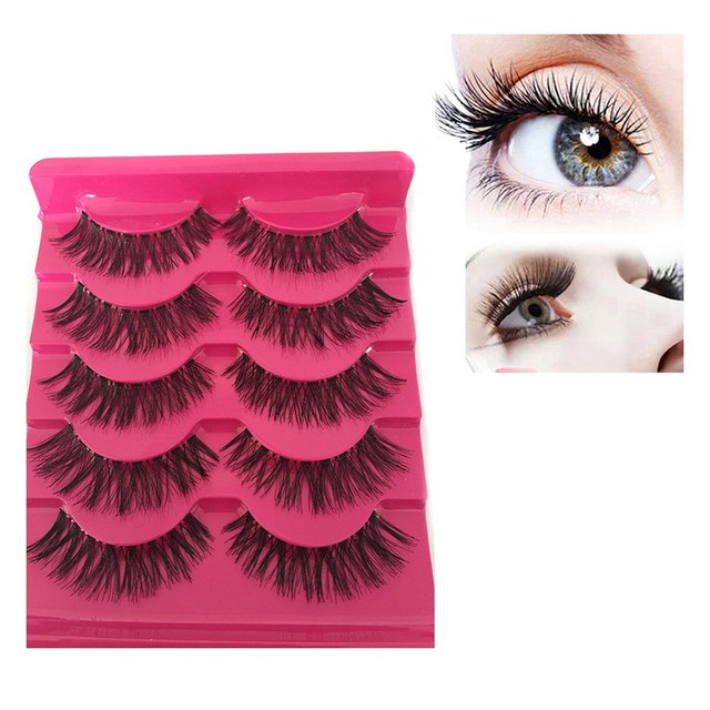 5351d824d35 New 5 Pairs Soft Natural Long Cross Fake Eye Lashes Long Eye Lash Makeup  Handmade Thick
