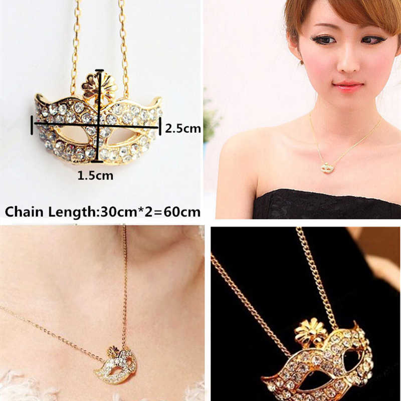 H11 conjunto de joyas con máscara de diamantes de imitación al por mayor, pendientes y collar con máscara de color dorado, joyería Vintage de moda para fiestas