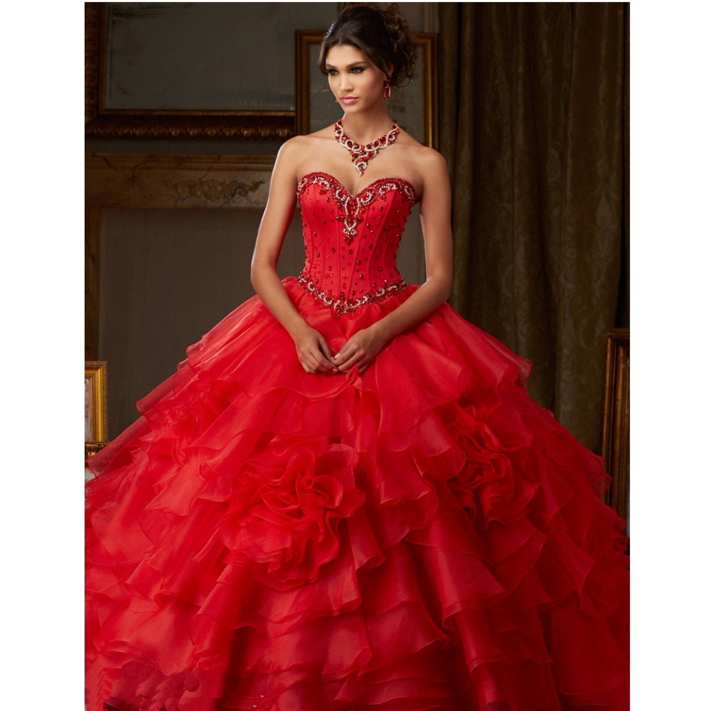 New Custom Made Red/Ivory/Royal Blue Ball Gown Organza Quinceanera ...