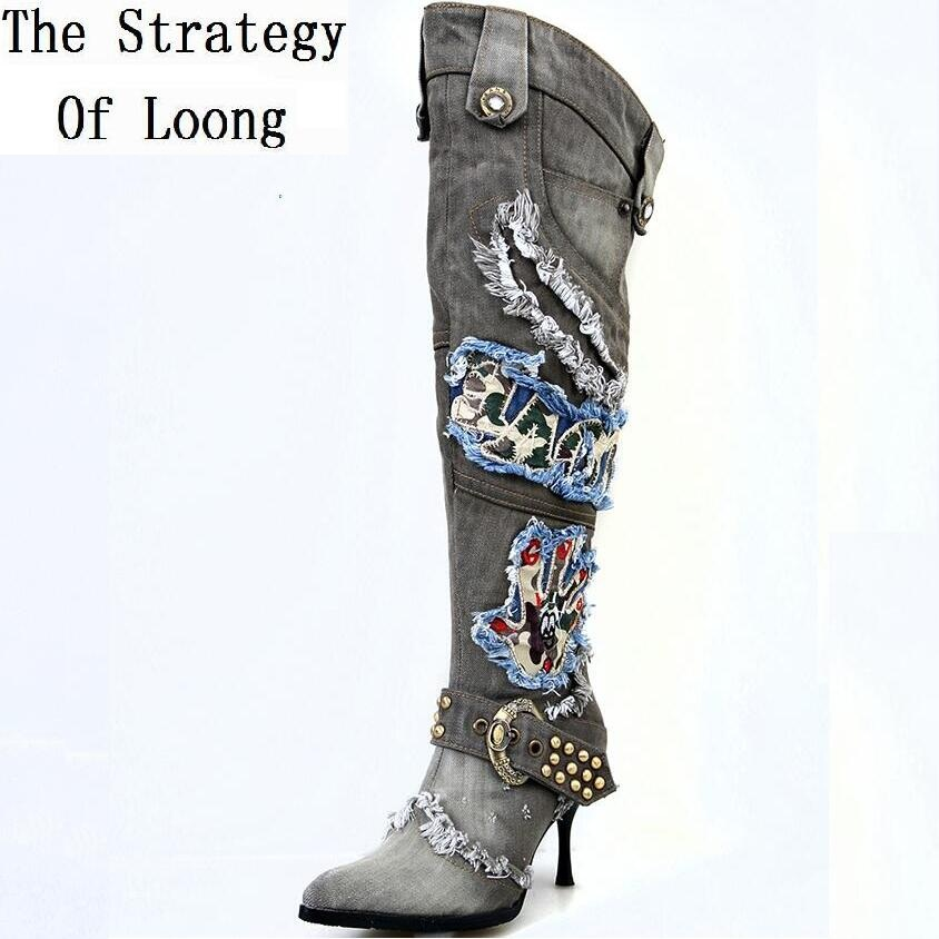 Women Vintage Thin High Heel Pointed Toe Denim Buckle Crystal Rivets Over The Knee Autumn Winter Jeans Long Boots SXQ0624 hot selling 2015 women denim boots pointed toe tassel patchwork knee high boots crystal thin high heels winter motorcycle boots