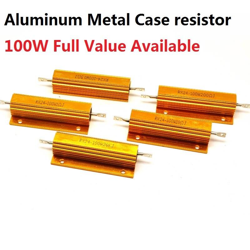 2 шт. RX24-100W-50RJ 100RJ 120RJ 150RJ 200RJ 5% алюминиевый металлический корпус резистор 50R 100R 120R 150R 200R проволочный корпус высокой мощности