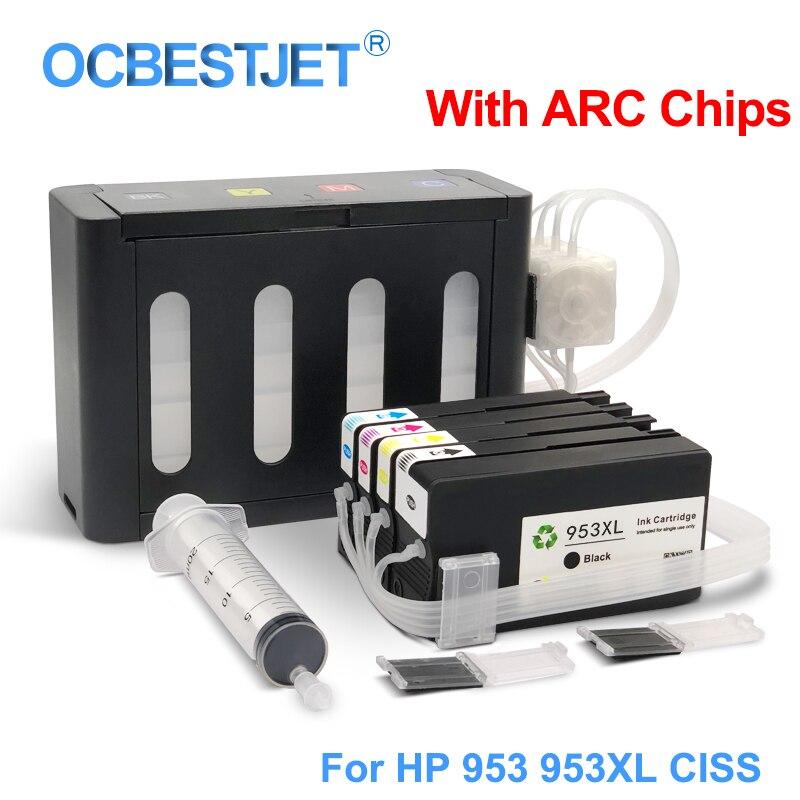 4 couleurs/Ensemble Pour HP 953XL 953 XL Système D'alimentation En Encre Continue Pour Imprimante HP Officejet Pro 7740 8210 8710 8715 8720 8725 8730 8740