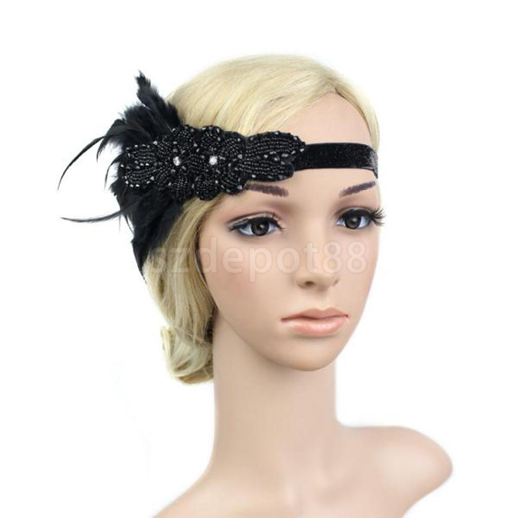 Vintage 20s Crystal Feather Headband Wedding Headpiece Gatsby Flapper Fancy Dress