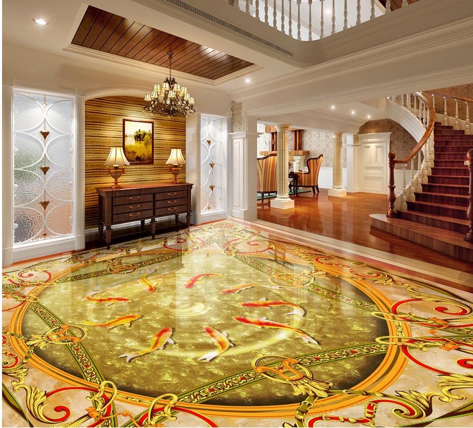 Waterproof floor fish 3d marble floor 3d pvc wallpaper for Decoration cost per m2
