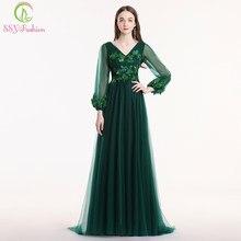 c54e4376a SSYFashion nuevo banquete elegante verde vestido de noche cuello en V manga  larga apliques encaje flor