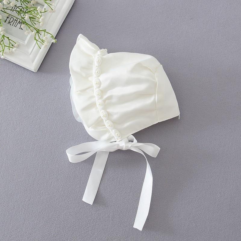 יילוד בנות כובע כותנה יום ראשון כובע Bonet תינוקות פעוט Sunhat Beanies 0-8 חודש תינוקת ילדה שמלת טבילה כובעים טבילה