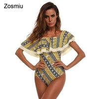 Zosmiu 2018 Sexy Plus Size Off Shoulder One Piece Swimsuits Women New Ruffle Flower Print Swimwear