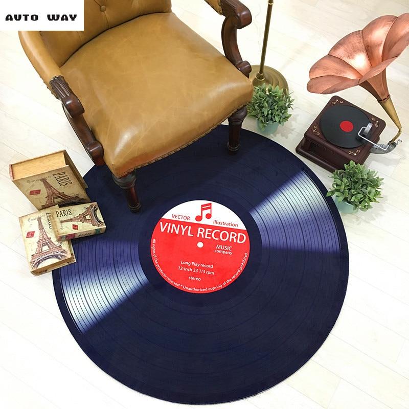 Europe fashion mats Creative Round mats Retro black carpet study room Vinyl record pattern rug Decorative carpet free shipping