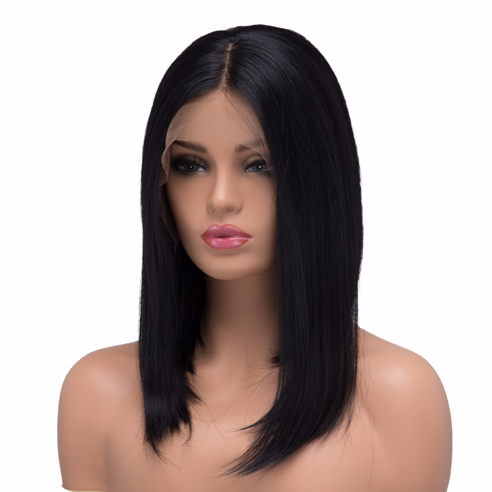BESTUNG Lace Front Wigs Natural Black Straight Bob Synthetic Middle Part Full Natural Hair for Women