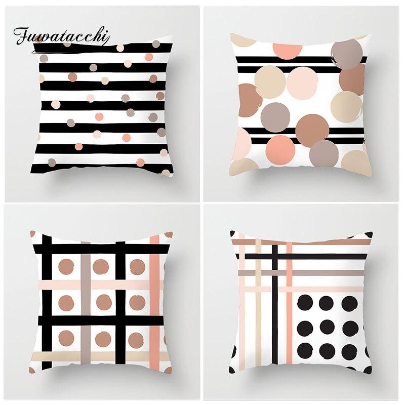 Fuwatacchi Intermináveis Dot Stripe Capa de Almofada Vários Estilo Geométrico Fronha para Sofá Quarto Casa Acessórios de Decoração