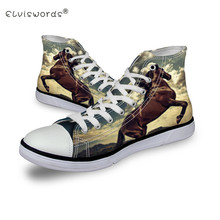 ELVISWORDS Crazy Horse Printed Men Shoes Custom Animal Canvas Shoes Student High Top Lace Up Teenager Flats Adult Footwear Male