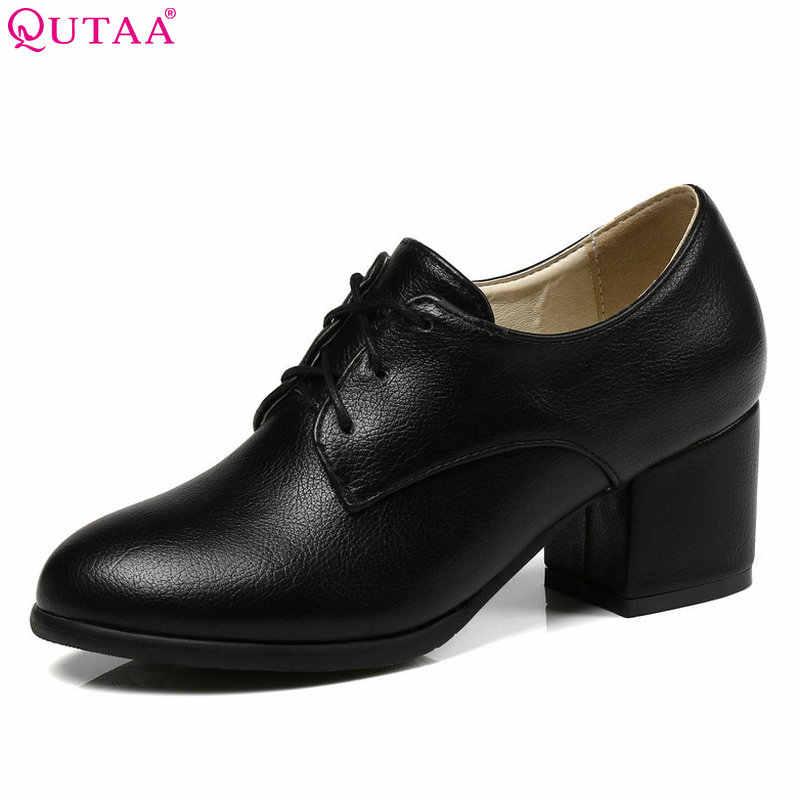 QUTAA 2018 kobiety pompy okrągły nosek kwadratowy szpilki moda kobiety buty Pu skóra czarny zasznurować wszystkie mecz panie pompy rozmiar 34-43