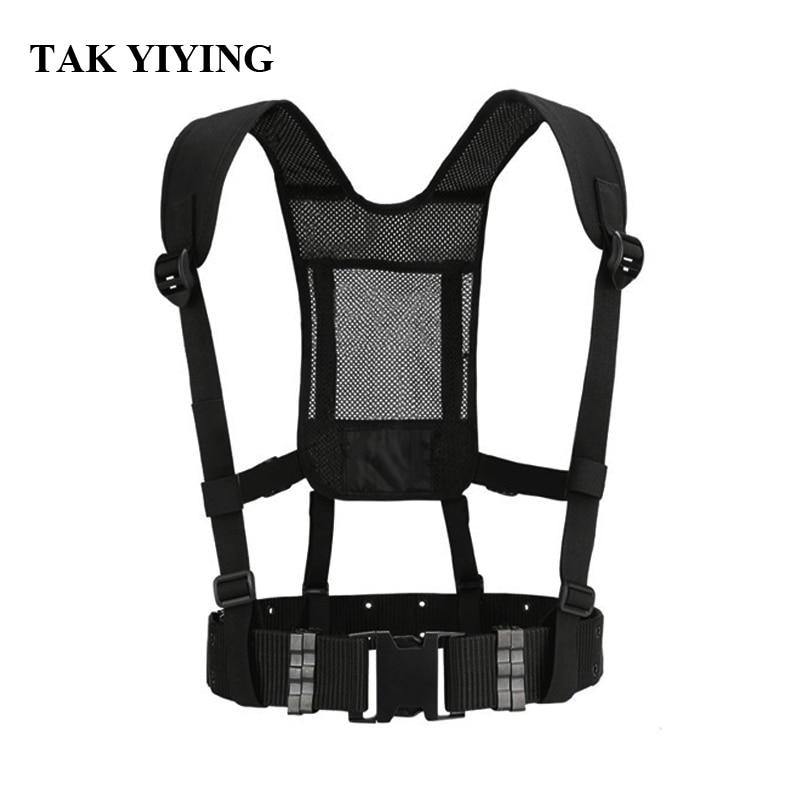 TAK YIYING Tactical Waist Padded Belt With H-shaped Suspender Military Airsoft Nylon Belt Black eagle shaped buckle belt