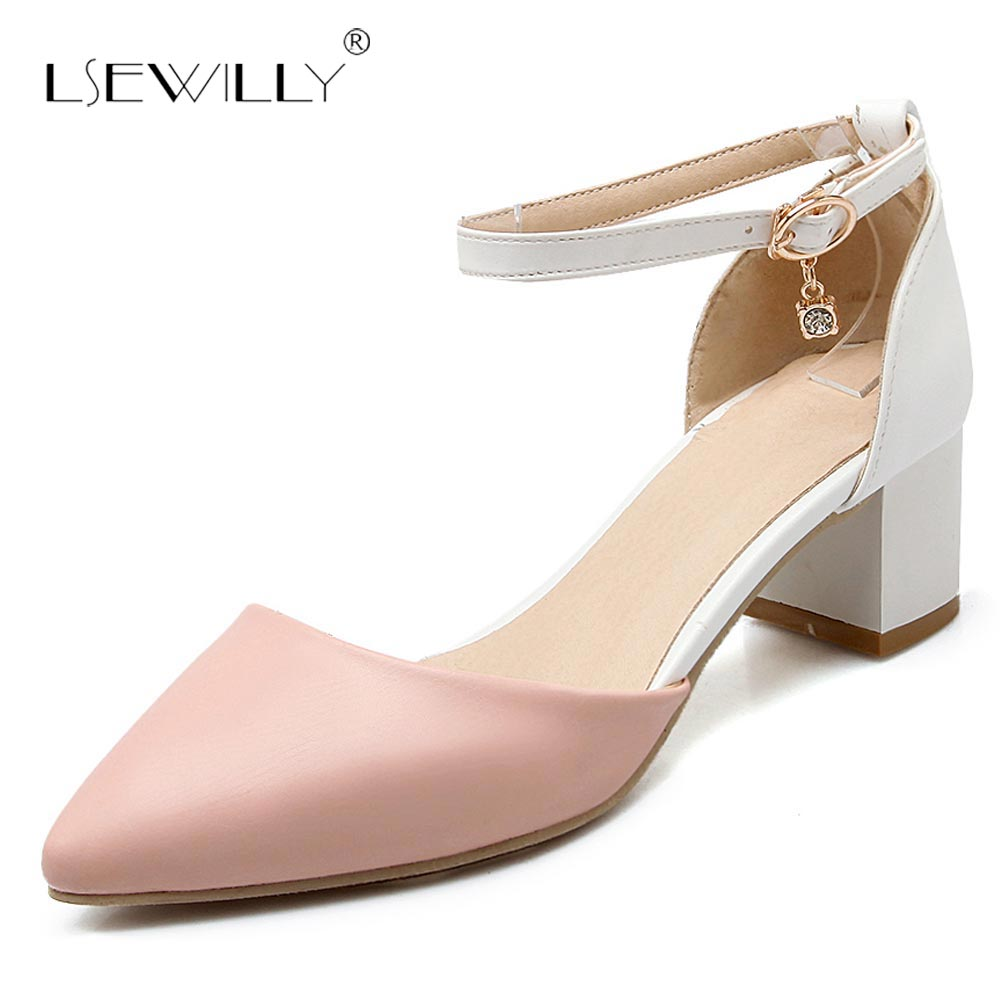 Lsewilly <font><b>2018</b></font> Summer <font><b>Sexy</b></font> Women Dress <font><b>Sandals</b></font> Cover Heel Buckle Straps Fashion Thick Heel Women Pointed Toe <font><b>Sandals</b></font> Ladies S375 image