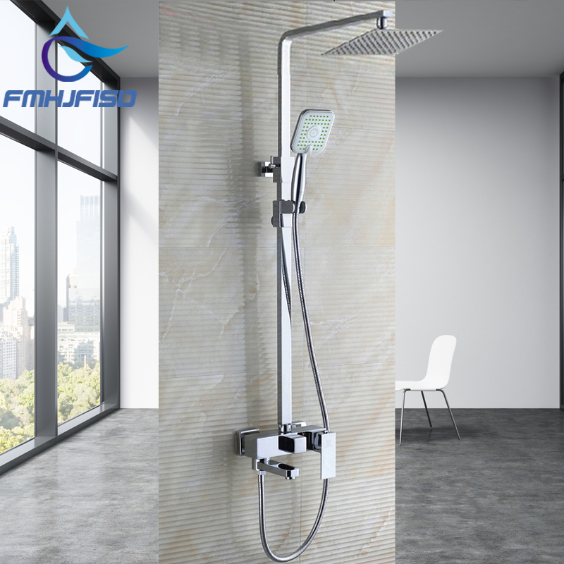 Bathroom Rainfall Shower Faucet Set Single Handle Mixer Tap With 8 inch Hand Shower