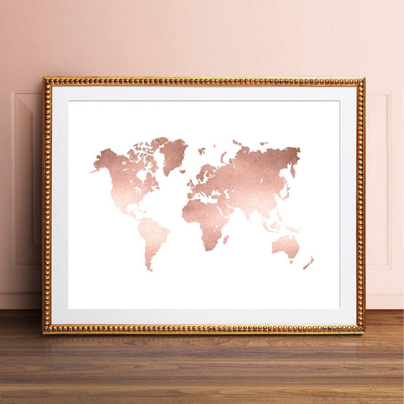 Rose Gold World Map Print Office Decor ,Modern Minimalism World Map Poster Canvas Painting For Living Room Home Wall Art Picture